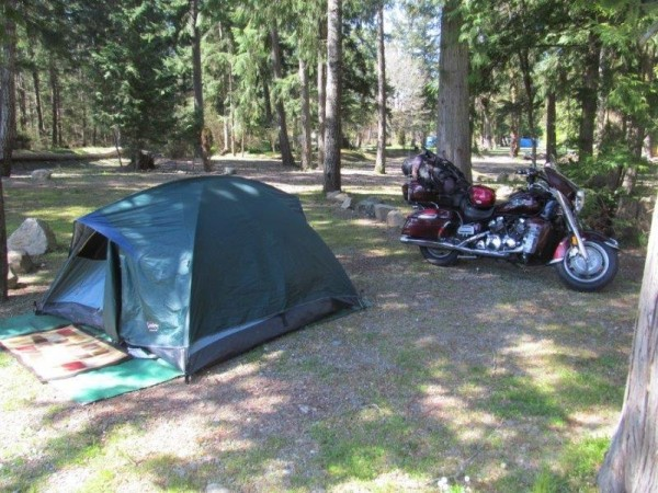 Campsite with motorcycle