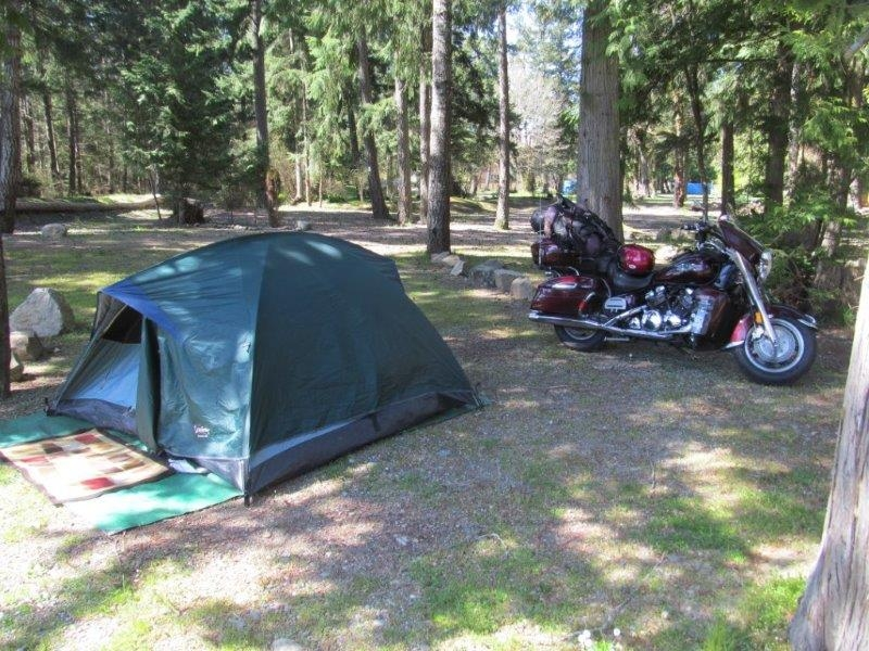 Spring Motorcycle Camping in Parksville, British Columbia