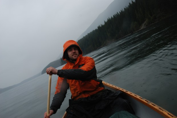 Ferren in a canoe on Alouette Lake, looking positively West Coast