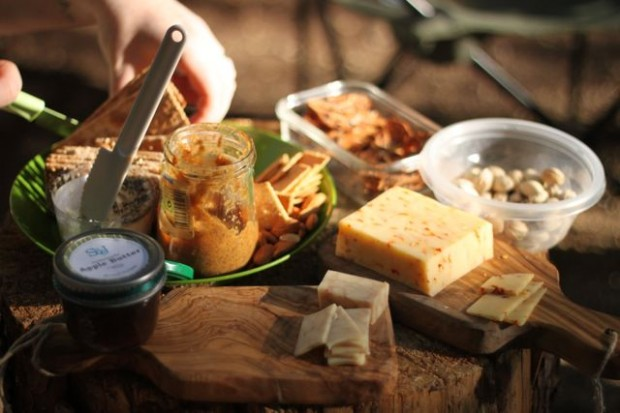 A camping appetizer platter like this deserves a gourmet drink!