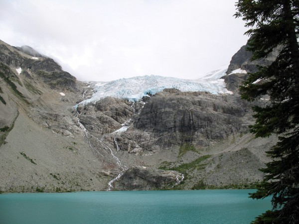 The view of the glacier above Upper Joffre Lakes, between Pemberton and Lillooet