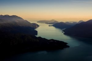 A majestic view of Howe Sound along the Sea to Sky Highway.