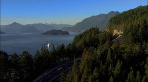 An aerial view of the Sea to Sky Highway between Vancouver and Whistler.