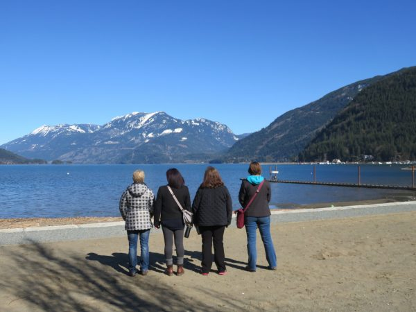 A spectacular view of the mountains from the sandy beaches of Harrison Hot Springs
