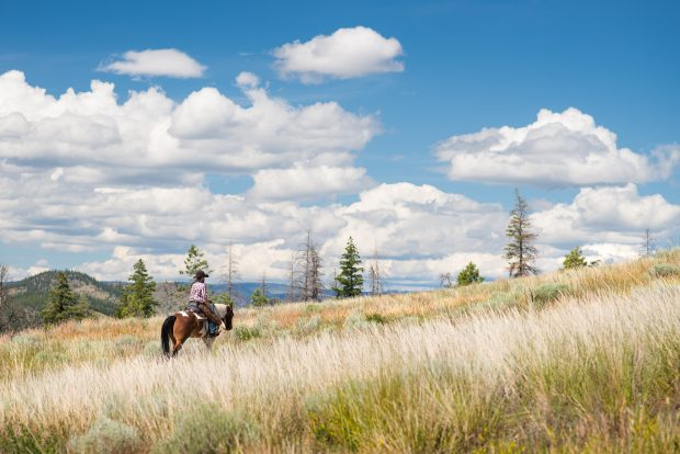 Riding horses under the clouds at Sundance Guest Ranch in Ashcroft.