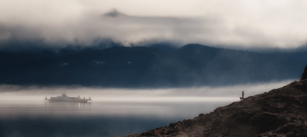 Morning mist on the mountains in Kelowna