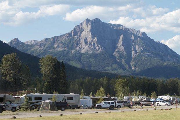 The mountains behind Fernie RV Resort.