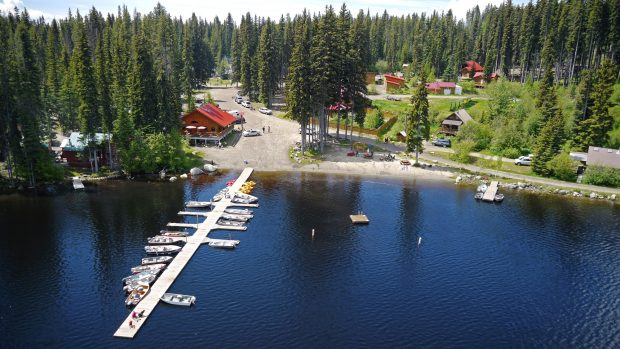 An aerial view of the Marina at the Beaver Lake Mountain Resort in Lake Country.