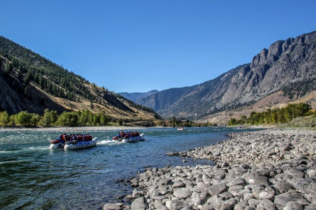 The river and mountains at the Kumsheen Rafting Resort in Lytton.