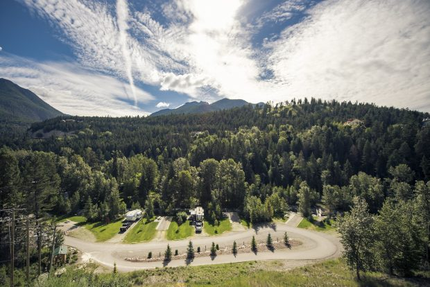An aerial view of the Canyon RV Resort in Radium Hot Springs.