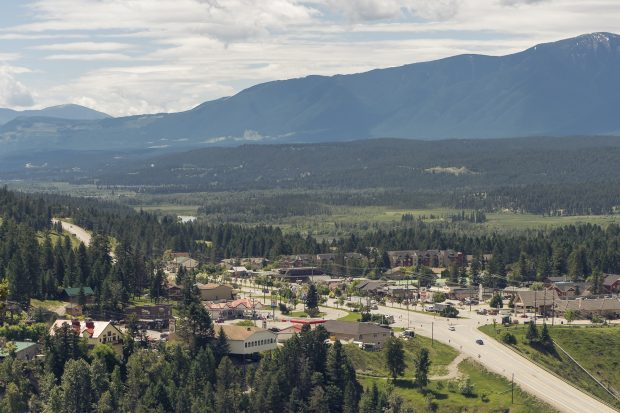 An aerial view of the village in Radium Hot Springs.