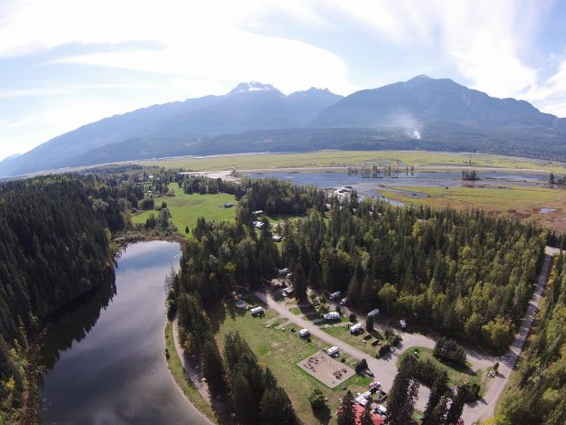 An aerial view of the Williamson Lake Campground in Revelstoke.
