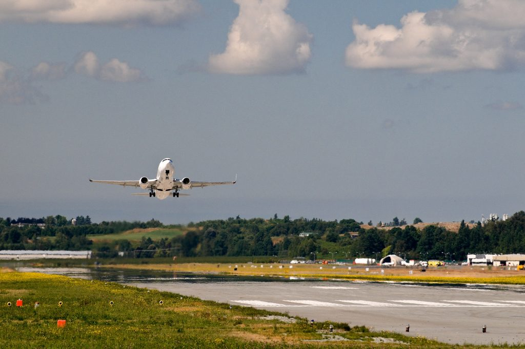 A Plane Landing at the Abbotsford Airport