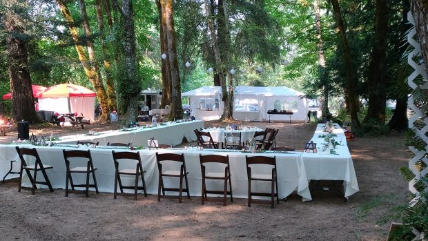 An outdoor banquet at the Maple Pool Campground & RV Park in Courtenay.