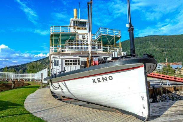 The SS Keno Paddlewheeler near the Gold Rush Campground in Dawson City.