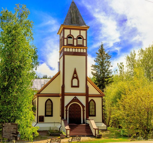 The St Andrews Anglican Church near the Gold Rush Campground in Dawson City.