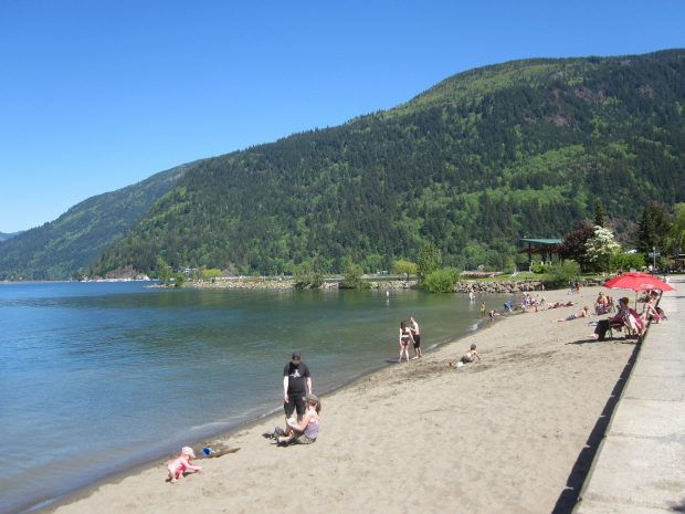 The beach at Harrision Hot Springs.