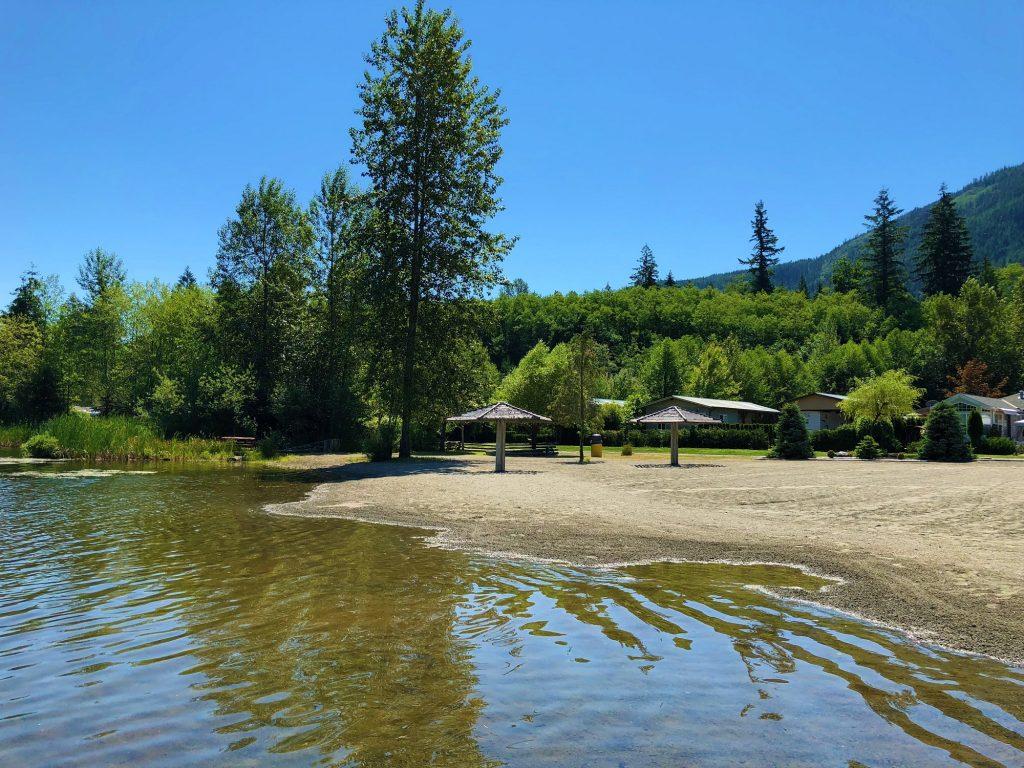 The beach at the Beaver Lake Resort in Lake Cowichan.