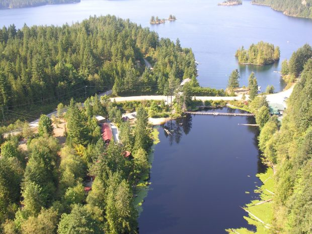 An aerial view of the Ruby Lake Resort in Madeira Park..