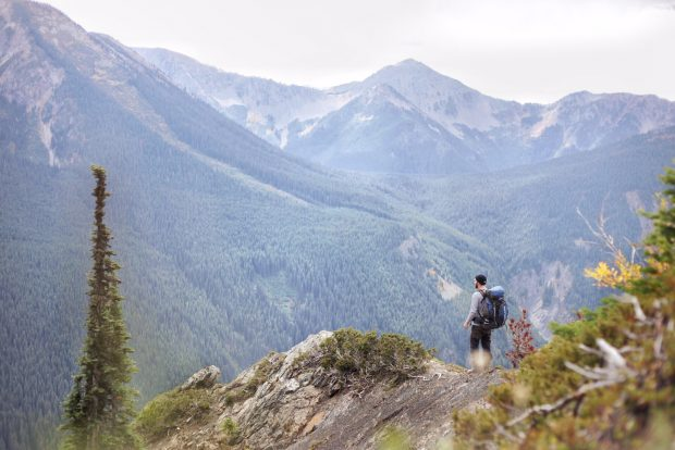 A hiker on the mountains at Manning Park in Summer.