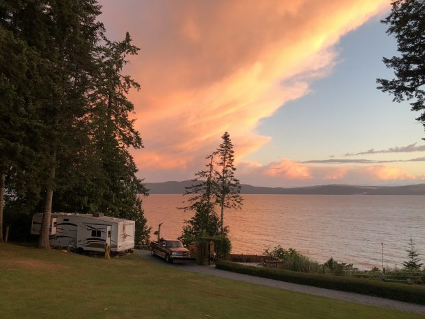The sun setting over Garnet Rock RV Park in Powell River.