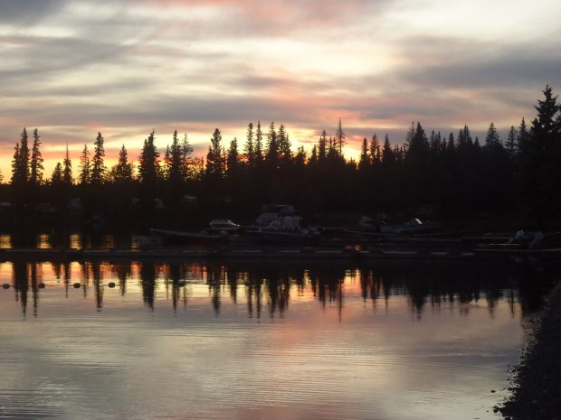 The sun setting over Loon Lake Resort in Sheridan Lake.