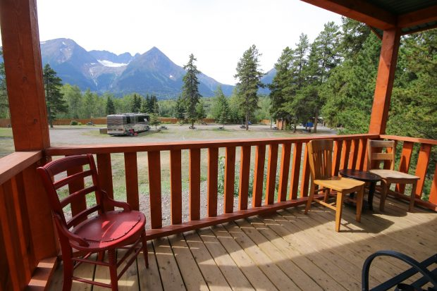Cabin deck at Glacier View RV Park in Smithers.