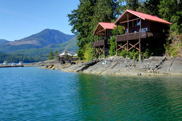 The chalets at Nootka Marine Adventures in Tahsis.