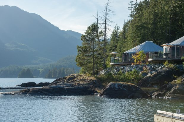 The lakefront yurts at Nootka Marine Adventures in Tahsis.