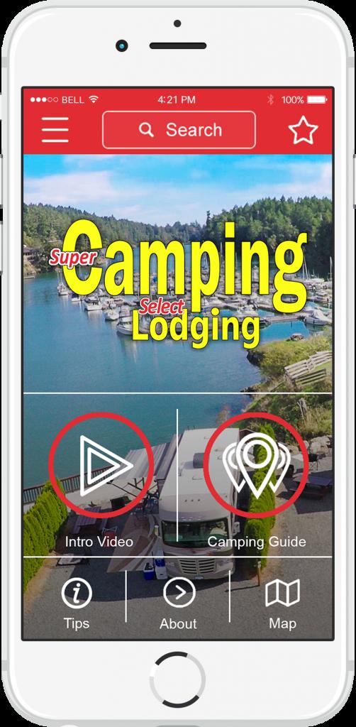 Super Camping App phone view